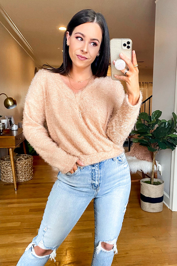 S / Taupe Addilyn V-Neck Soft Knit Sweater - Madison and Mallory