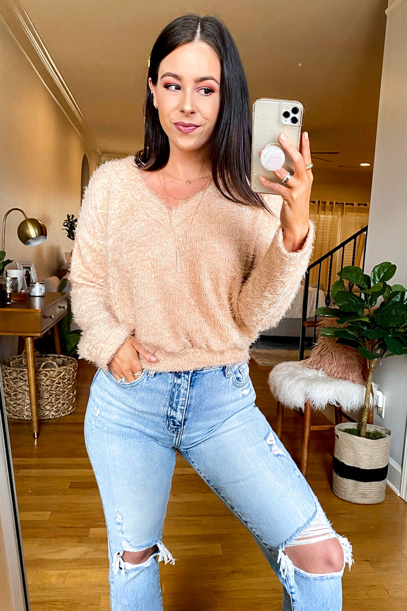 Addilyn V-Neck Soft Knit Sweater - Madison and Mallory