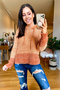 S / Butterscotch Tora Color Block Chenille Hooded Sweater - Madison and Mallory