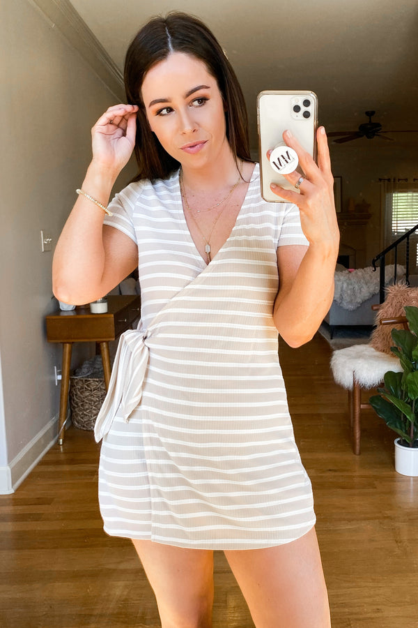 Let's Unwind Striped Faux Wrap Romper - Taupe - Madison and Mallory