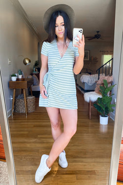 Olive / S Let Us Unwind Striped Faux Wrap Romper - Olive - Madison and Mallory