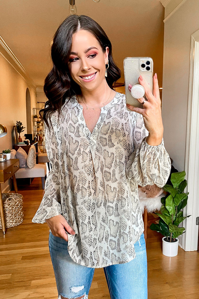 Sneak Away Snake Print Top - Madison and Mallory