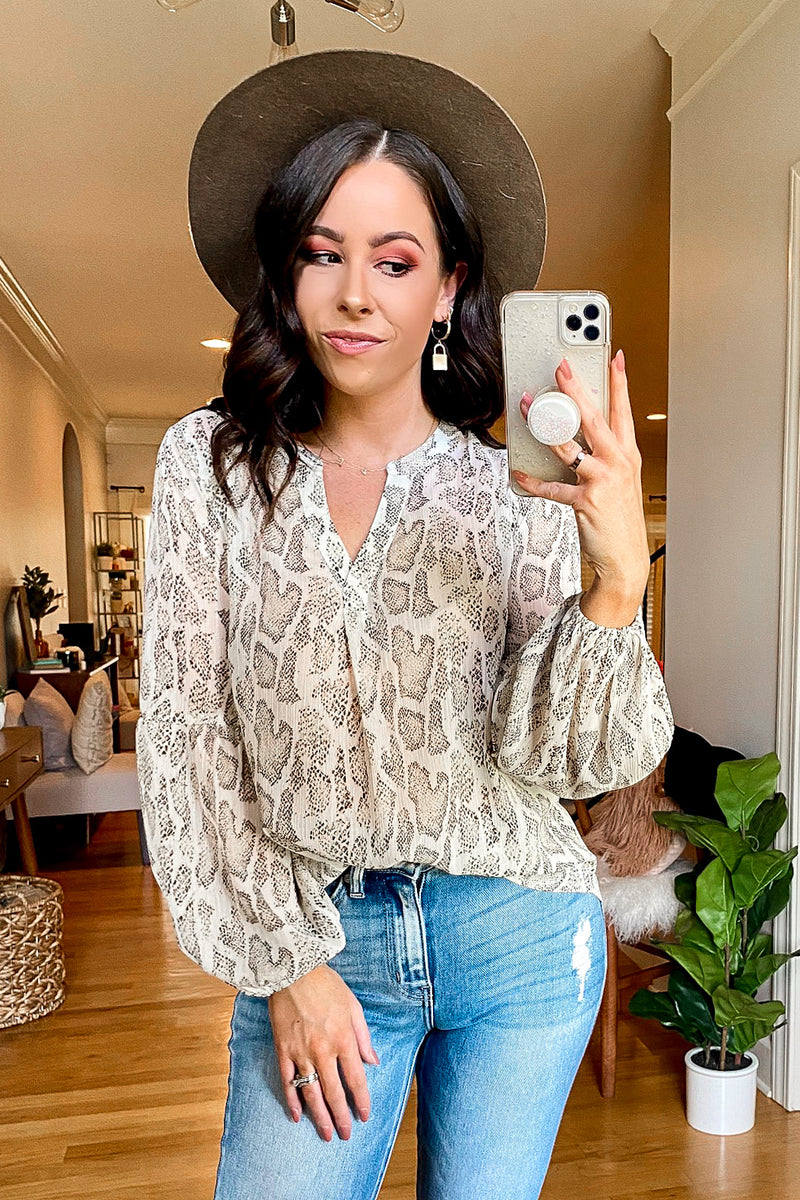 S / Natural Sneak Away Snake Print Top - Madison and Mallory