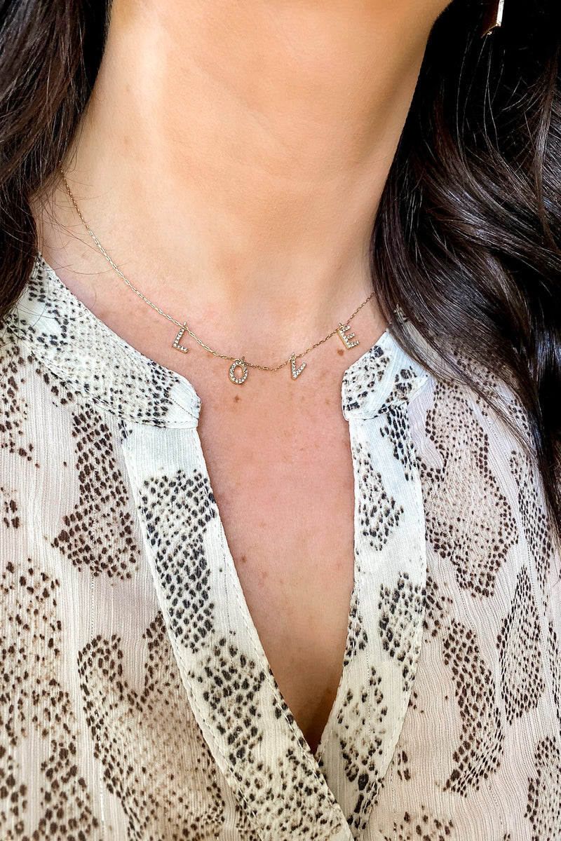 Gold All for Love Dainty Crystal Necklace - Madison and Mallory