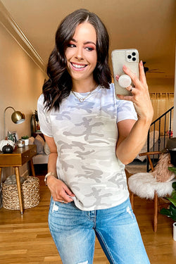 S / Gray Arctic Camo Print Short Sleeve Top - FINAL SALE - Madison and Mallory