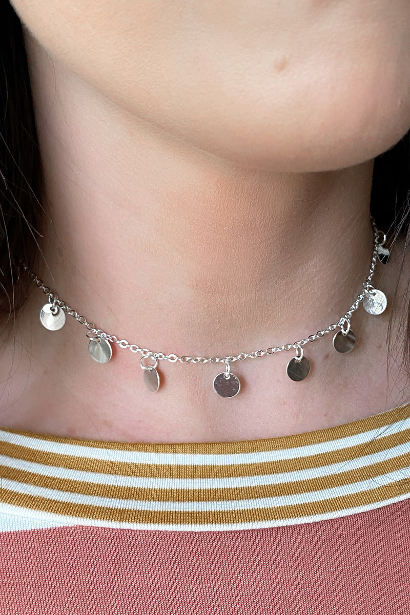 Graceful Ways Disc Coin Choker Necklace - Madison and Mallory