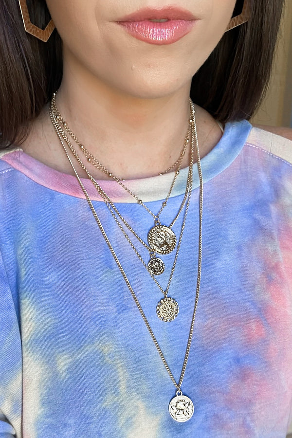 Gold Avenue Coin Layered Necklace - Madison and Mallory