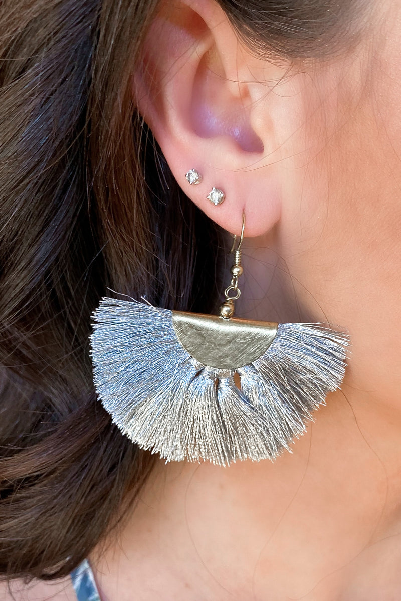 Pirouette Fringe Tassel Earrings - Gray - Madison and Mallory