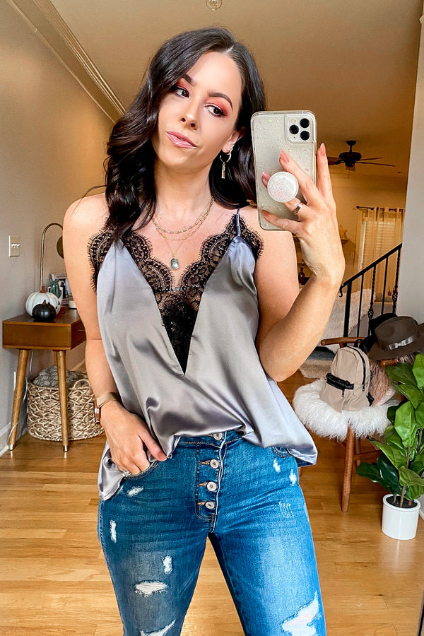 S / Gray Must Be Fate Satin Lace Tank - Madison and Mallory