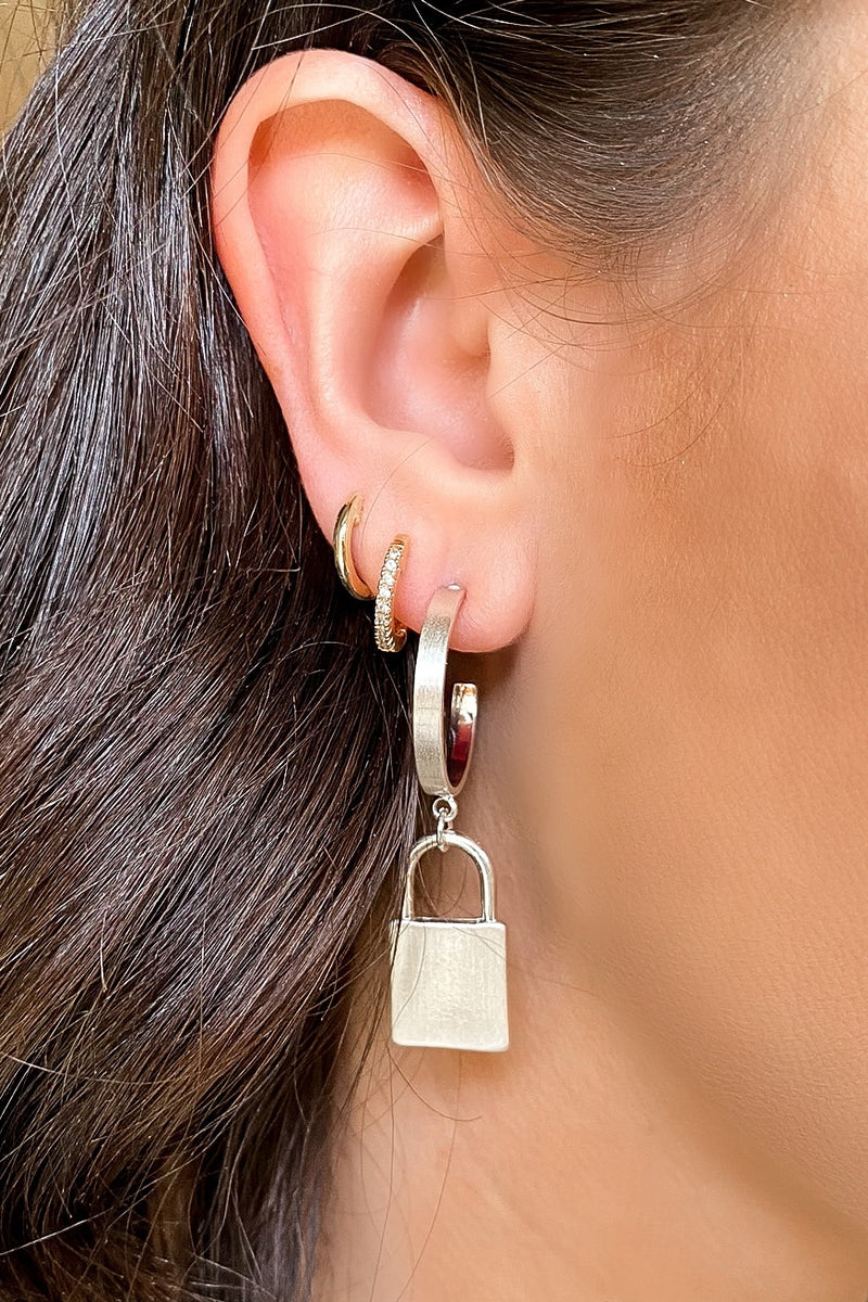 Silver Key Me In Lock Hoop Earrings - Madison and Mallory