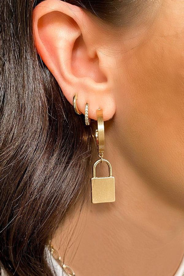 Gold Key Me In Lock Hoop Earrings - Madison and Mallory