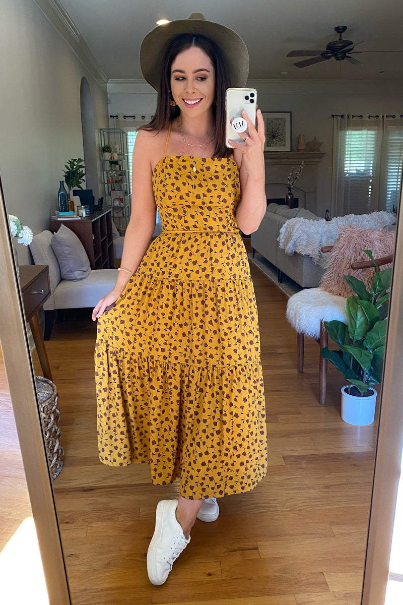 S / Mustard Creative Approach Floral Tiered Midi Dress - Madison and Mallory