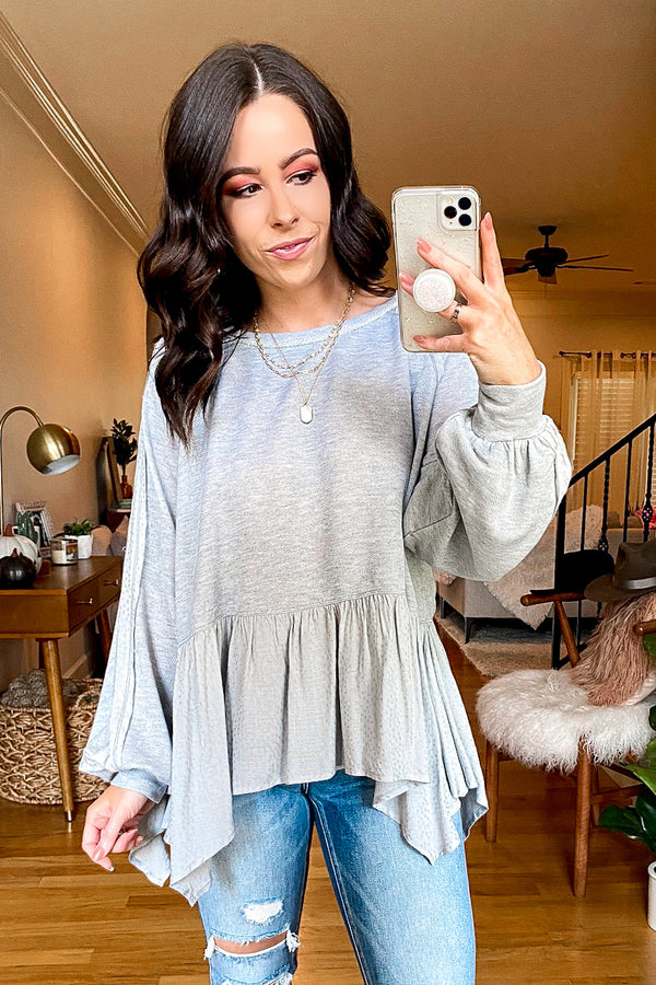 Gray / S Instant Gratification Peplum Knit Top - Madison and Mallory