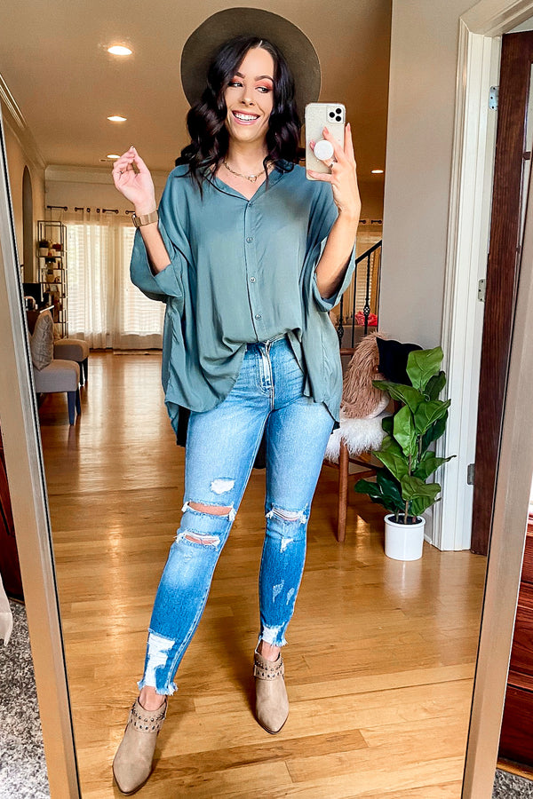 Celaeno Button Down Flowy Top - Slate Green - Madison and Mallory