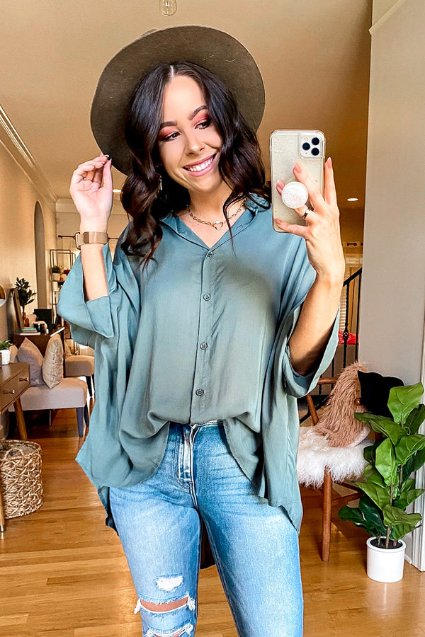 Slate Green / S Celaeno Button Down Flowy Top - Slate Green - Madison and Mallory