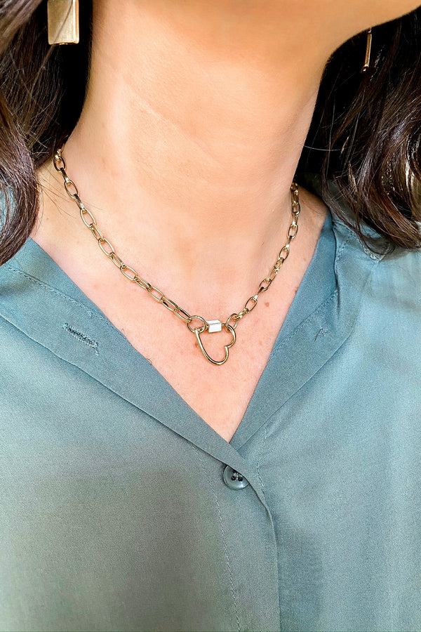 Gold Rebel Heart Chain Necklace - Madison and Mallory
