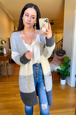 SM / Heather Gray Carlow Color Block Cardigan - Madison and Mallory