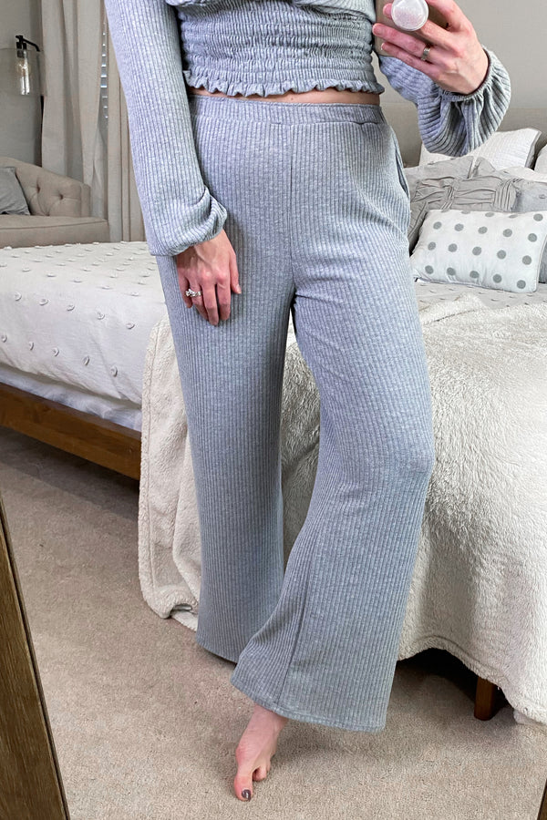 S / Heather Gray Just Casual Rib Knit Lounge Pants - Madison and Mallory