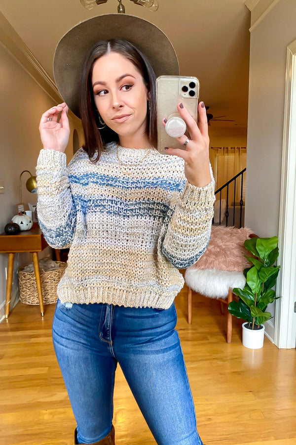 S / Mint Roxana Multi Color Knit Sweater - Madison and Mallory