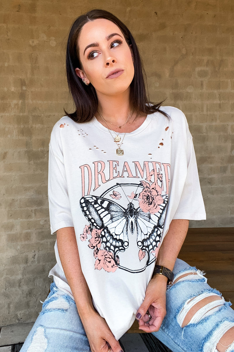 S / Khaki Butterfly Dreamer Distressed Graphic Tee - Madison and Mallory