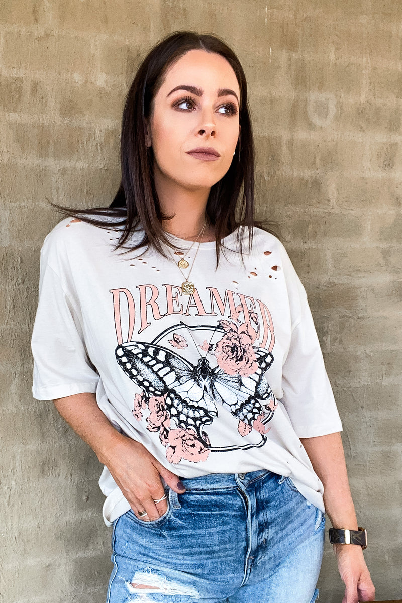 Butterfly Dreamer Distressed Graphic Tee - Madison and Mallory