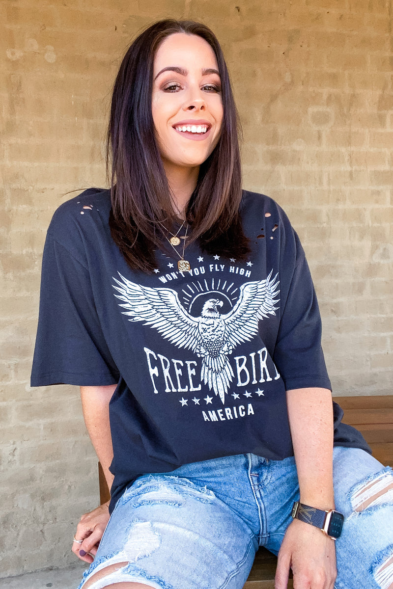 Free Bird Distressed Graphic Tee - Madison and Mallory