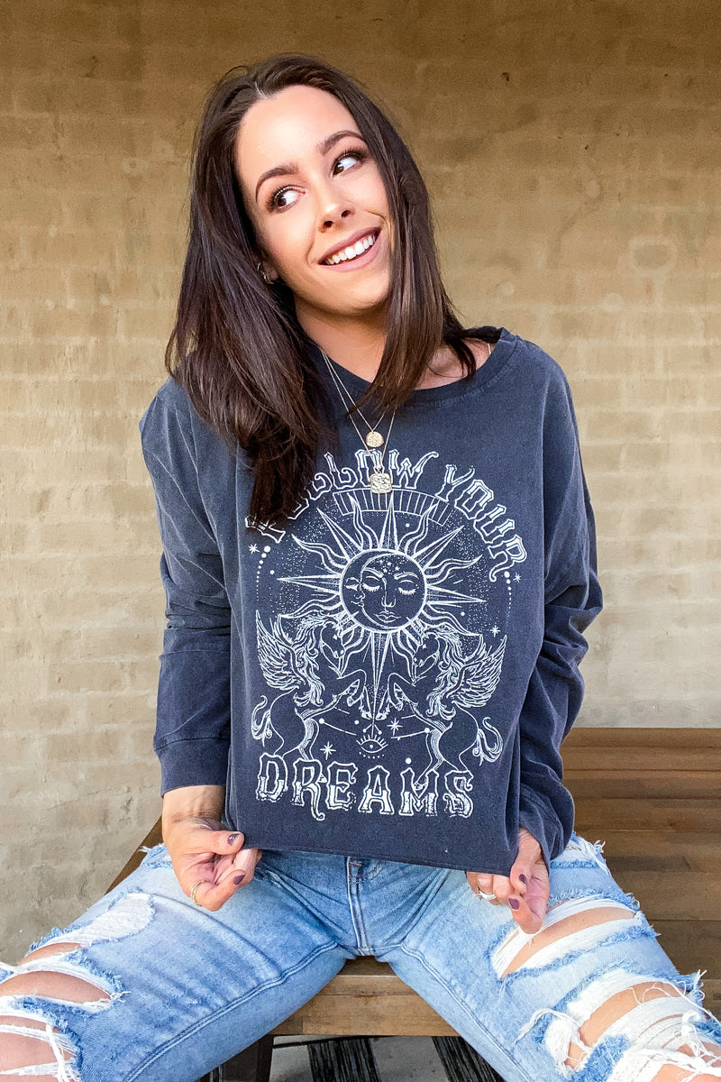 S / Black Follow Your Dreams Long Sleeve Graphic Top - Madison and Mallory
