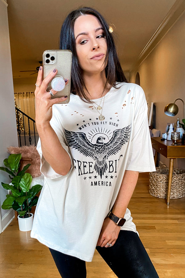 Khaki / S Free Bird Distressed Graphic Tee - Madison and Mallory