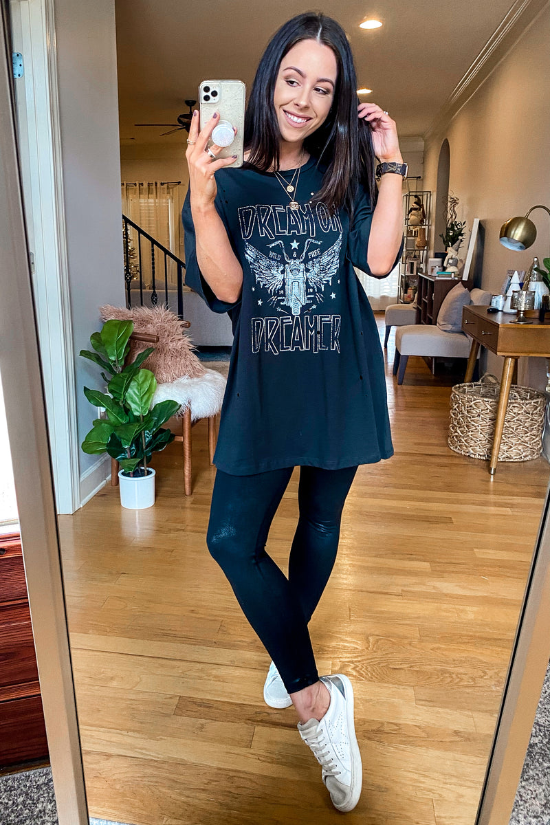 Dream on Dreamer Distressed Graphic Tee - Madison and Mallory