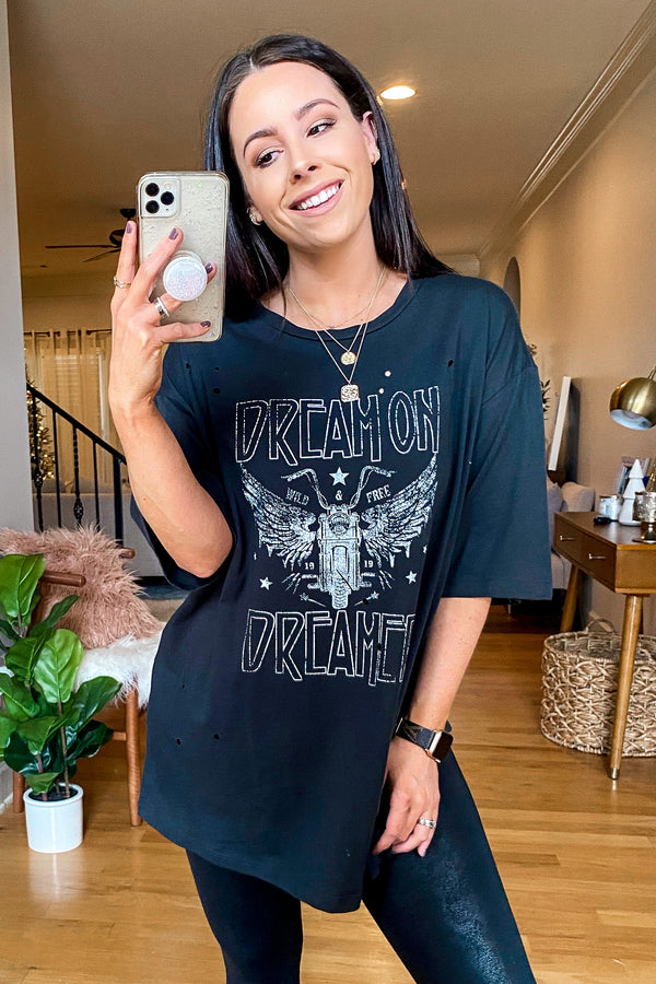 S / Black Dream on Dreamer Distressed Graphic Tee - Madison and Mallory