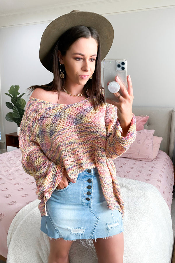 OS / Multi Pizzaz Multi Color Oversized Sweater - Madison and Mallory
