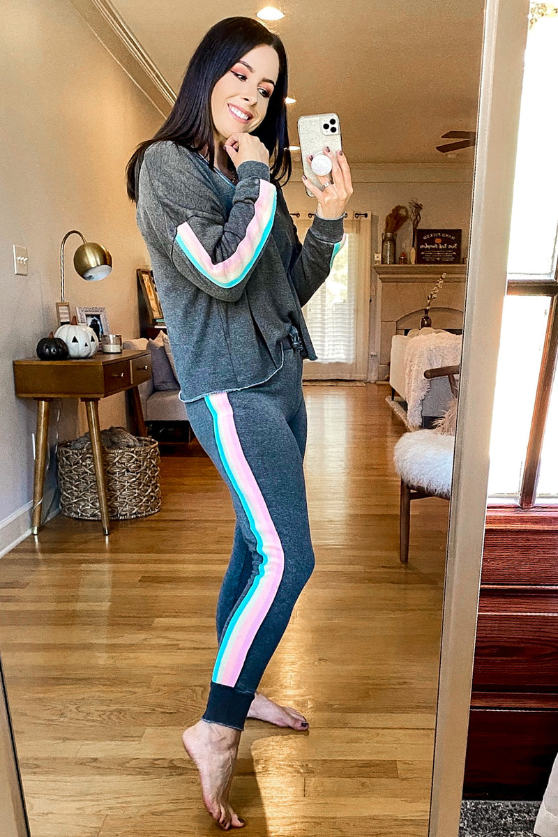 Retro Rainbows Side Stripe Pullover - Madison and Mallory