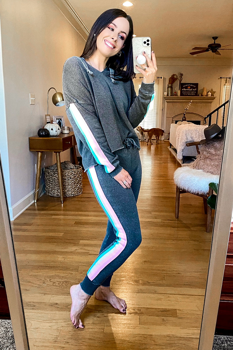 Retro Rainbows Side Stripe Joggers - Madison and Mallory