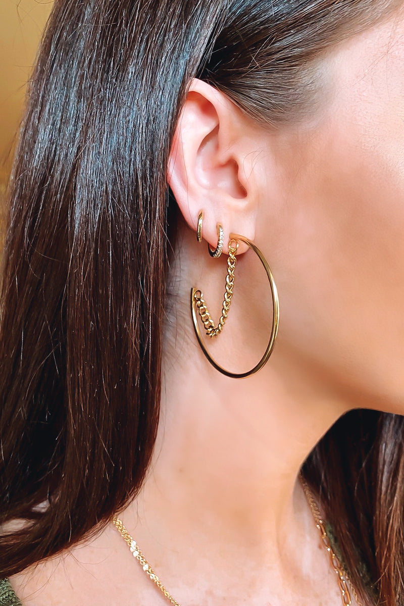 Flattering Moves Chain Detail Hoop Earrings - Madison and Mallory