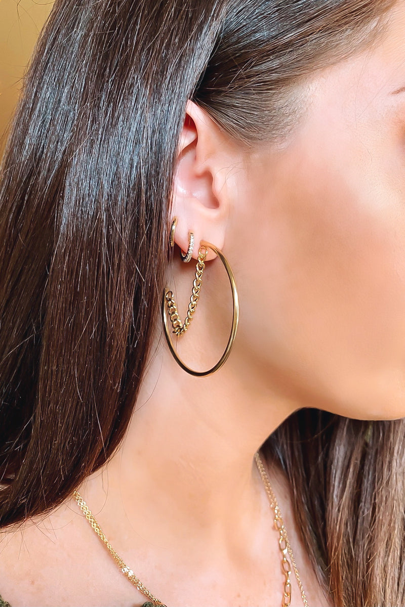 Gold Flattering Moves Chain Detail Hoop Earrings - Madison and Mallory