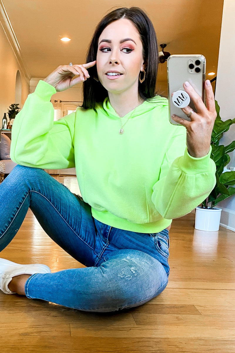 Day After Day Neon Hooded Top - Neon Lime - FINAL SALE - Madison and Mallory