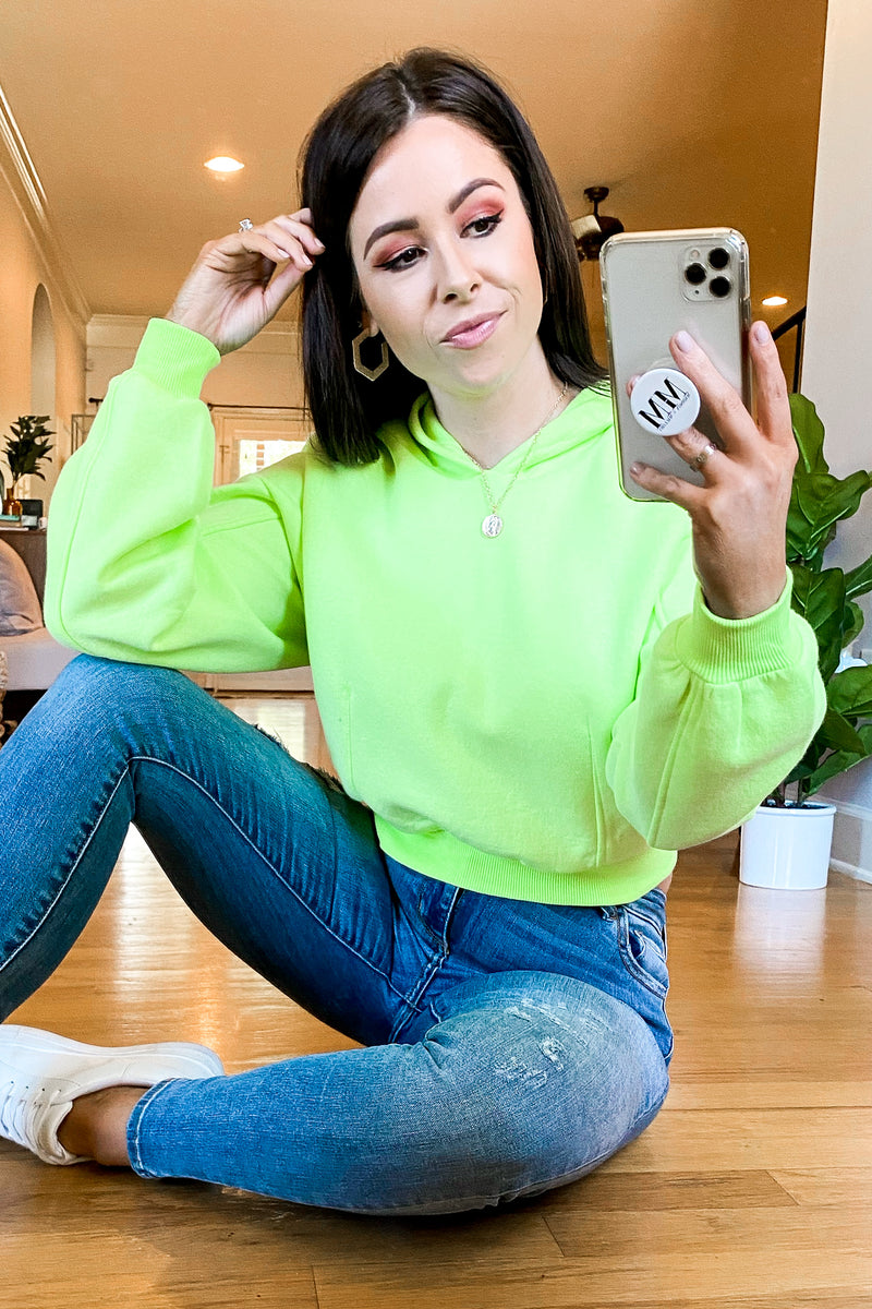 Day After Day Neon Hooded Top - Neon Lime - Madison and Mallory
