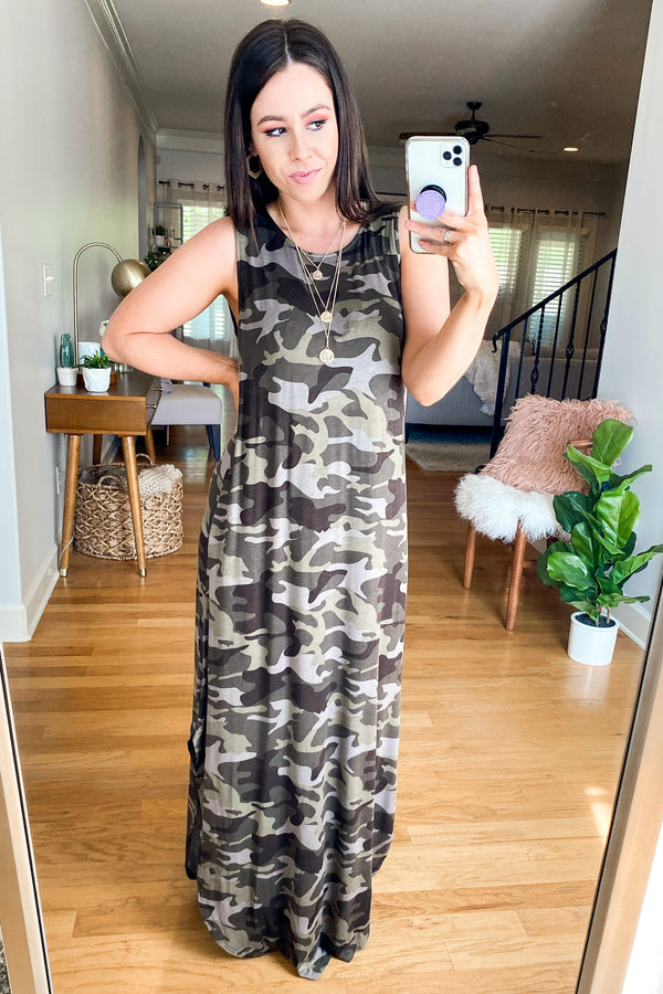 Force of Habit Camo Maxi Dress - Army | CURVE - Madison and Mallory