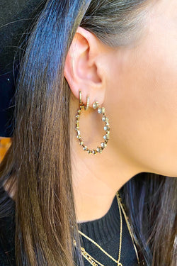 Gold Such a Treat Rhinestone Hoop Earrings - Madison and Mallory