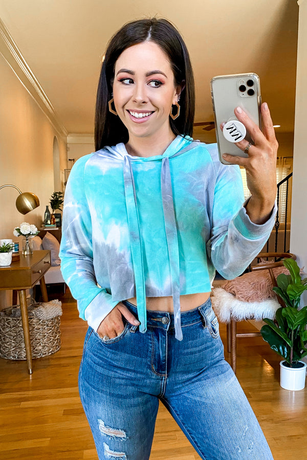 S / Mint Setting Goals Tie Dye Cropped Hoodie - Madison and Mallory