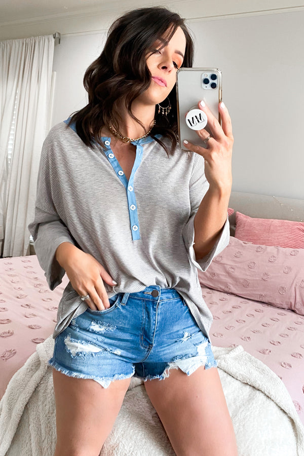 JJ High Rise Distressed Denim Shorts - Madison and Mallory