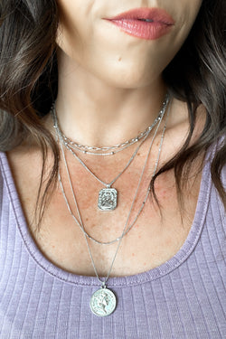 Silver Cariana Layered Coin Necklace - Madison and Mallory