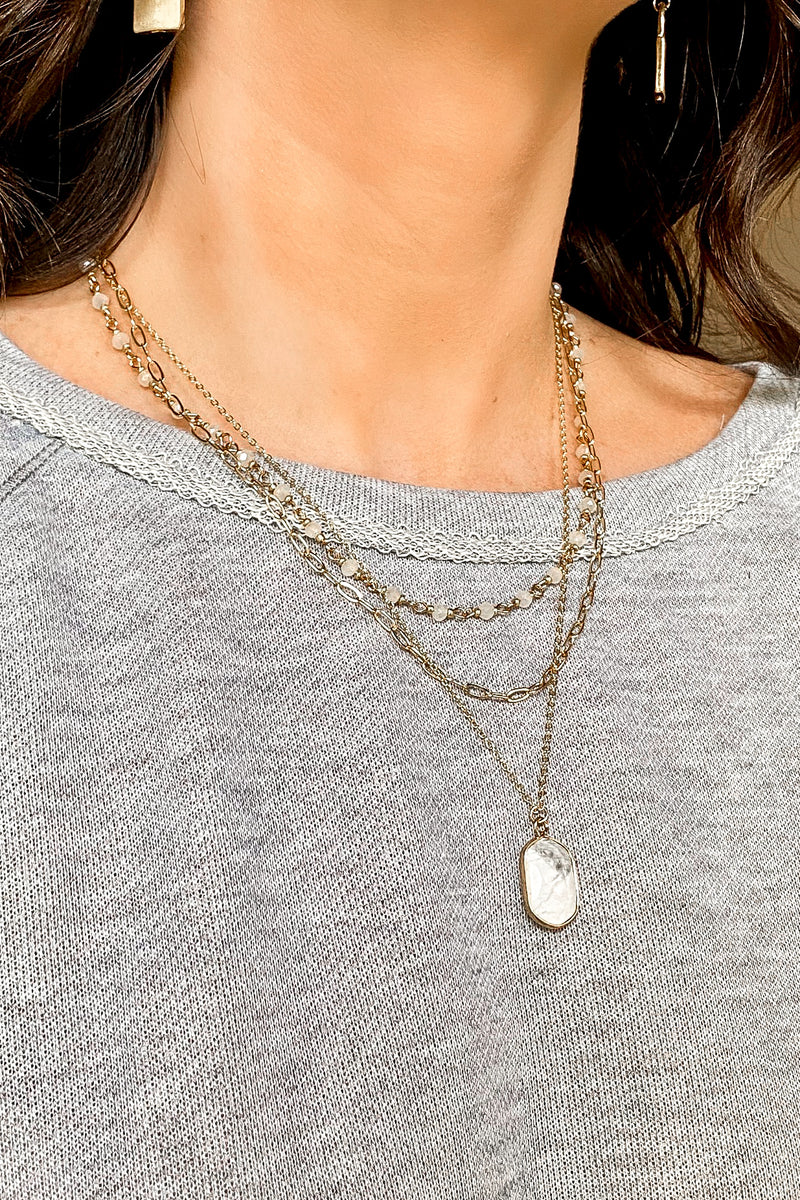 Howlite Rhian Stone Layered Necklace - Madison and Mallory