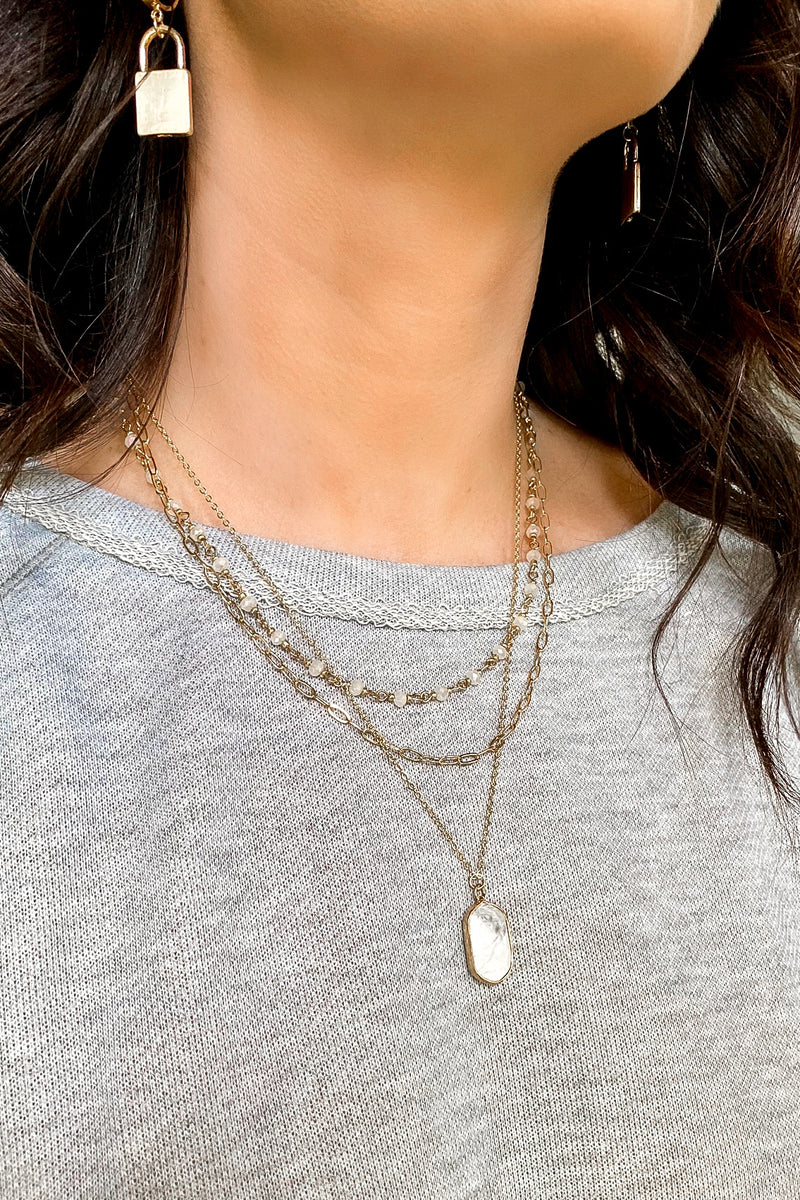 Rhian Stone Layered Necklace - Madison and Mallory