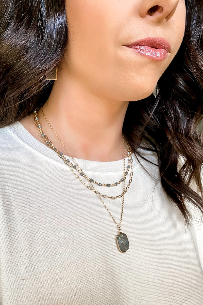 Labradorite Rhian Stone Layered Necklace - Madison and Mallory
