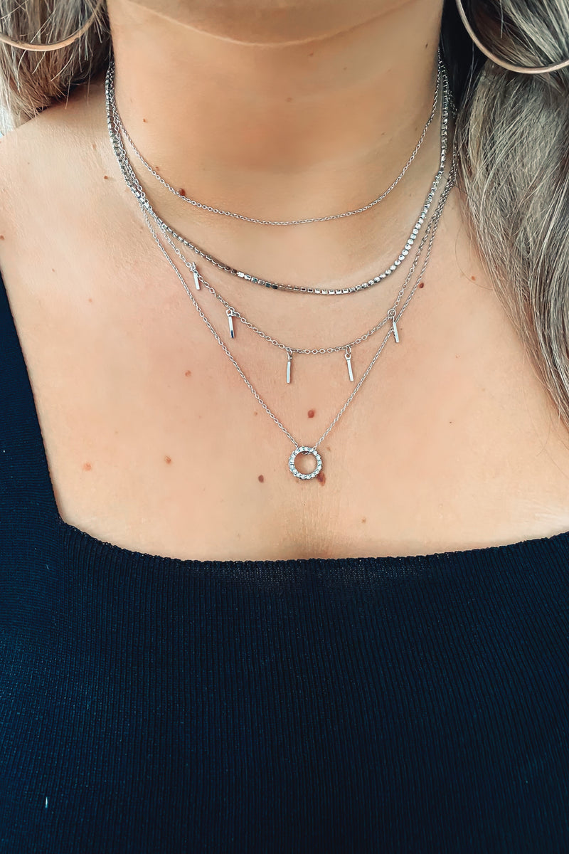 Silver RSVP Layered Chain Circle Necklace - Madison and Mallory