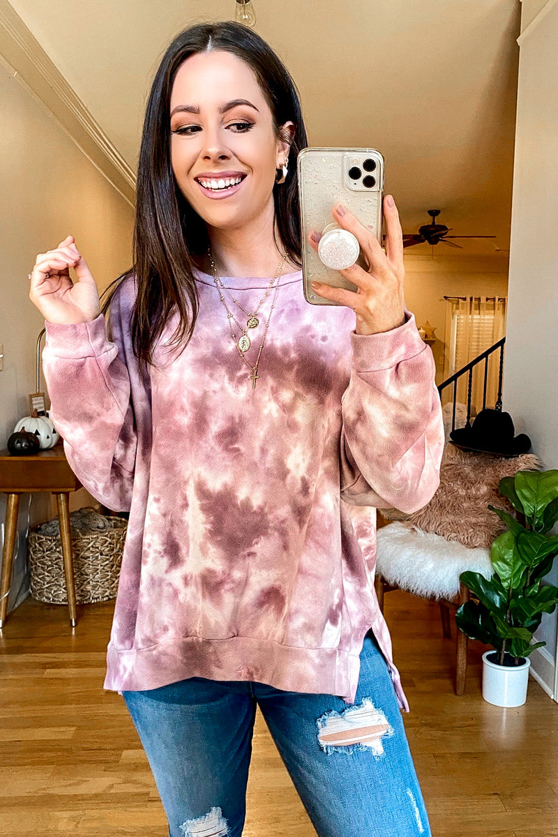 Mauve / S Blur the Lines Marble Relaxed Sweatshirt - Madison and Mallory