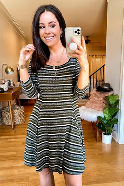 S / Olive Selda Striped Fit and Flare Dress - Madison and Mallory