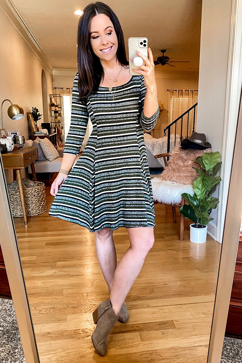 Selda Striped Fit and Flare Dress - Madison and Mallory