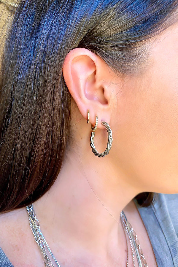 Silver Crowning Achievement Twist Detail Hoop Earrings - Madison and Mallory